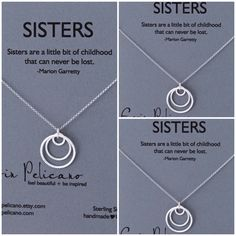 A personal favorite from my Etsy shop https://www.etsy.com/listing/165749735/sisters-necklace-three-sisters-jewelry