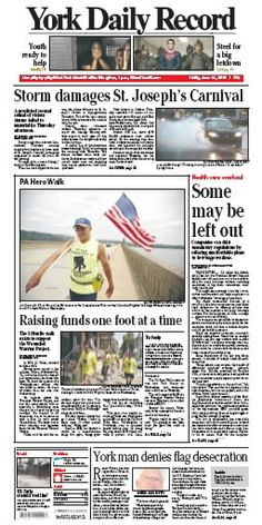York Daily Record front page for Friday, June 14