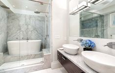 Bathroom with Japanese soaking tub and shower combo