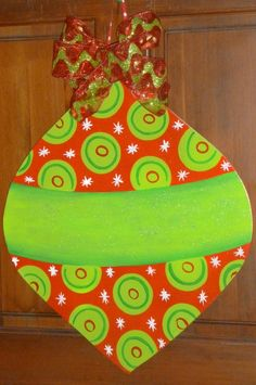 Large Size Wooden Christmas Ornament... Christmas Decor... Christmas door hanger. $45.99, via Etsy.