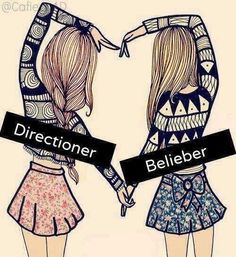 I am a directioner and a belieber. I support both people. I am also a mahomie, brat, sheerio, mixer and many more. I feel that we should get along but there is people who say this person is better then this person. In my book i love them both and they are equal. :)