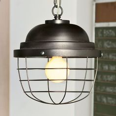 Davis likes this light fixture Industrial Cage Pendant Cage Pendant Light, Chandelier Pendant Lights, Pendant Light Fixtures, Ceiling Light Fixtures, Ceiling Lights, Chandeliers, Contemporary Light Fixtures, Rustic Kitchen Decor, Pottery Barn Teen