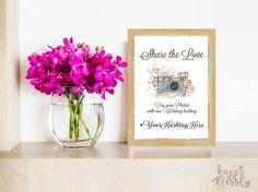 Share the love. Wedding Hashtag Sign, Wedding Signs, Share The Love, Hashtags, Christening, Creative Art, Signage, Glass Vase, Birthdays