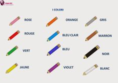 Orange Gris, Rose Orange, French Worksheets, French Education, Gris Rose, Courses, French Lessons, French Tips, Red And Blue