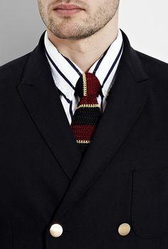 Red Navy Yellow College Stripe Silk Knit Tie by Nick Bronson