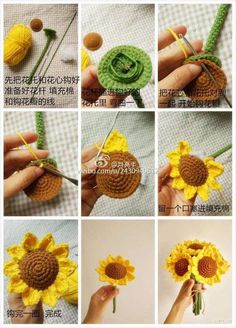 Crochet Sunflowers; free picto