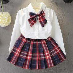 Girls Clothing Sets Preppy Style plaid shirt blouse for school girls White blouse Bow + Red Plaid Skirt 2 Pcs Suits Kids Clothes Cheap Girls Clothes, Kids Outfits Girls, Girl Outfits, Spring Outfits, Baby Girl Dresses, Baby Dress, Baby Girls, Toddler Girls, Kids Girls