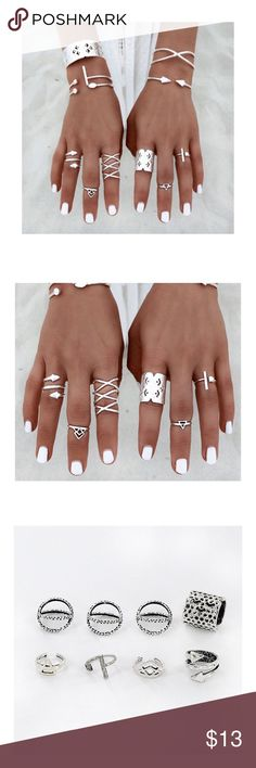 ✨LAST ONE✨Silver Knuckle Midi 8Pcs/Set Rings Boho Bohemian style 8pcs set of midi rings and knuckle ring. NWOT: Brand New no tags! In trendy vintage style. Measurements in last picture. Trendy and just adorable! Jewelry Rings