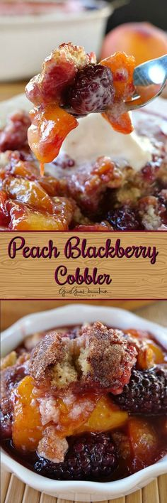 Peach Blackberry Cobbler is a perfect dessert any time of the year but especially in summer with fresh peaches and blackberries. Sweet, juicy and delicious! Blackberry Peach Cobbler, Blackberry Recipes, Fruit Recipes, Dessert Recipes, Cooking Recipes, Yummy Recipes, Recipies, Amazing Recipes, Pie Recipes