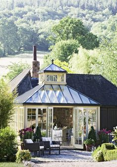 Pale paintwork softens the appearance of this Marston & Langinger conservatory. These really are the dream. From Country Living UK Outdoor Rooms, Outdoor Living, Outdoor Decor, Indoor Outdoor, Outdoor Ideas, Orangerie Extension, Country Living Uk, Glass Conservatory, Gazebos