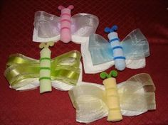 ok, too cute, a diaper, a baby wash cloth, some ribbon and pipe cleaners. . .      photo of butterfly baby shower ideas