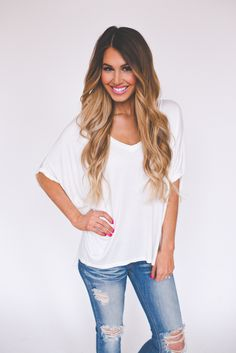 Dottie Couture Boutique - Oversized V Top- Ivory, $28.00 (http://www.dottiecouture.com/oversized-v-top-ivory/)