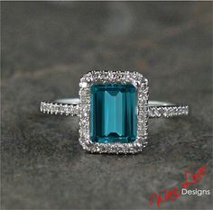 London Blue Topaz & Diamond halo ring 2.36 ct by WanLoveDesigns, $885.00