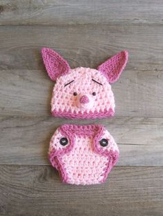 Piglet Hat & Diaper Cover Set, inspired by Winnie the Pooh (NEWBORN-3 MONTH size). $39.50, via Etsy.