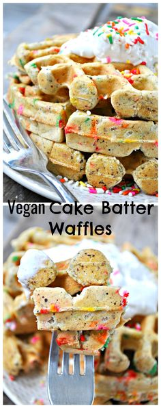 """Make brunch feel like a party with these """"funfetti"""" decadent cake batter waffles, topped with freshly whipped coconut cream."""