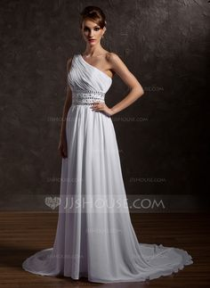 Wedding Dresses - $164.99 - A-Line/Princess One-Shoulder Chapel Train Chiffon Wedding Dress With Ruffle Beading (002012661) http://jjshouse.com/A-Line-Princess-One-Shoulder-Chapel-Train-Chiffon-Wedding-Dress-With-Ruffle-Beading-002012661-g12661