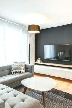 Vinet prosjektet en ekte ungdomskur for en dekor som er Ikea Living Room, Warm Home Decor, Tv Wall Design, Diy Curtains, Living Room Inspiration, House Rooms, Home Interior Design, Living Room Designs, Wall Units