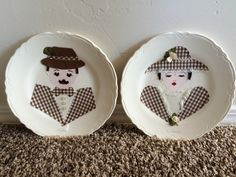 "Vintage His & Her Decorative Plates - ceramic plates decorated with fabric cutout pieces - ""Karl and Irene"" - very good condition by DaydreamVintage77 on Etsy https://www.etsy.com/listing/461648032/vintage-his-her-decorative-plates"