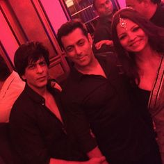 Celebrity trainer Deanne Pandey with Salman Khan and Shah Rukh Khan at Arpita Khan's wedding reception in Mumbai. #Bollywood #Fashion #Style #Beauty #Handsome