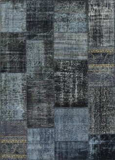 Patchwork (Ultramarine)  100% recycled, dip-dyed, cut into patches and fused together. Handknotted in Turkey.