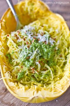 Paleo Squash Pesto Spaghetti - a delicious, low carb dish you can cook in the squash so you don't dirty any dishes!