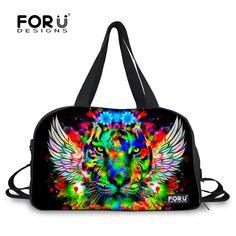 Travel Luggage Duffle Bag Lightweight Portable Handbag 3D Tiger Print Large Capacity Waterproof Foldable Storage Tote