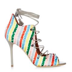 Malone Souliers Savannah lace-up striped satin sandals ($275) ❤ liked on Polyvore featuring shoes, sandals, multi, gray sandals, lace up shoes, grey sandals, satin shoes and summer shoes