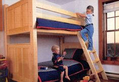 A Collection of Free, DIY Bunk Bed Plans: Bunk Bed Plan from Canadian Home Workshop Safe Bunk Beds, Cool Bunk Beds, Kids Bunk Beds, White Bunk Beds, Bunk Beds With Stairs, Bunk Bed Plans, Murphy Bed Plans, Stair Plan, Triple Bunk Beds