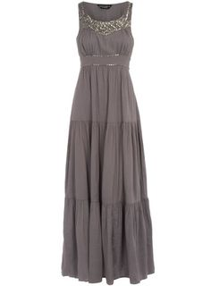 Grey embellished maxi dress - would be gorgeous as a maternity dress