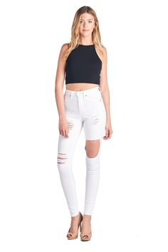 Parkers Jeans - Distressed Cutout High Waisted Skinny Jeans  #demin #highwaisted #skinny #distressed #ripped #cutout #jeans #fashion #model #photoshoot #lookbook