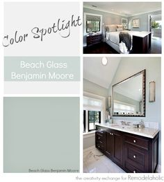 Beach Glass from Benjamin Moore is one of the most versatile transitional paint colors. See how it works in nearly every room, even with artificial instead of natural light. (bedroom with vanity benjamin moore) Interior Paint Colors, Paint Colors For Home, Paint Colours, Basement Paint Colors, Purple Interior, Interior Painting, Wall Colors, House Colors, Benjamin Moore Beach Glass