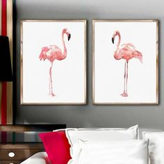 Flamingo Watercolor Painting Set 2, Flamingo Decor Watercolour Print, Pink Abstract Art Print, Kids Room Decoration