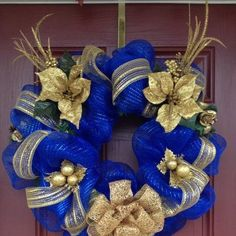 "My ""Oh, So Bold Blue and Gold"" Christmas Wreath White Christmas Garland, Gold Christmas Decorations, Christmas Tree Design, Christmas Swags, Christmas Hanukkah, Christmas Door, Blue Christmas, Beautiful Christmas, Christmas Crafts"