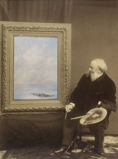 Ivan Aivazovski: Valokuva taiteilijasta, kuvassa öljymaalaus jokimaisemasta. 1888. Kuva: Kansallisgalleria/Janne Mäkinen