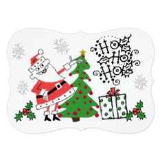 Retro Santa Ho Ho Ho Holidays 5x7 Paper Invitation Card. This retro Christmas holiday card is part of a set that includes matching postage stamps, address labels, envelopes, stickers, binders, and more. See the entire set! http://www.zazzle.com/christmasshop/gifts?cg=196562374013645051