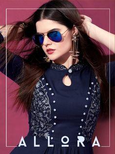 Riya designer allora long beautiful Colours Ready To Wear Kurties Simple Kurti Designs, Salwar Designs, Kurti Neck Designs, Kurti Designs Party Wear, Stylish Dresses For Girls, Stylish Dress Designs, Cute Dresses, Fancy Kurti, Fancy Sarees