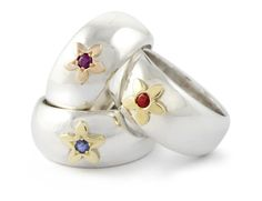 Handmade Argentium & Yellow Gold Domed Daisy Rings Set With Various Coloured Gemstones Daisy Ring, Bespoke Jewellery, Bespoke Design, Gemstone Colors, Jewelry Shop, Gemstones, Yellow, Rings, Silver