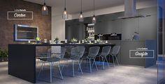 Sala de jantar com os padrões de MDF Corten e Grafite. #MDF #decoraçãoMDF #decoração #DesignInteriores #padrõesMDF #homedecor #decoração #cozinha #saladejantar #peçasMDF