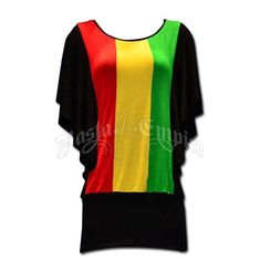 This dolman style tunic top features wide vertical rasta stripes down the center with black sleeves and a wide black waistband.