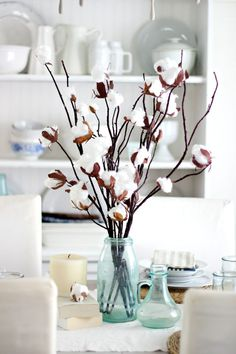 How to DIY a Faux Cotton Branch Centerpiece