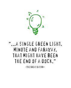 F Scott Fitzgerald The Great Gatsby, Green Light Quotation Art Print,