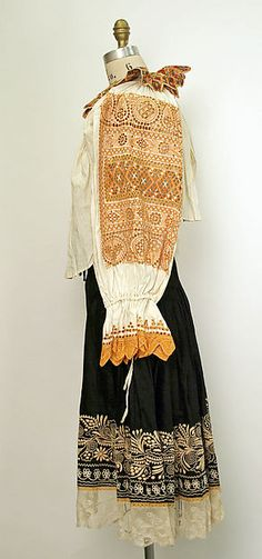Slovak Wedding ensemble Date: 1922 Culture: Slovak Medium: cotton, silk, metal…