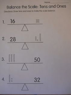Mrs. T's First Grade Class: Balance the Scale: Tens and Ones