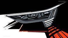 2019 Audi e-tron - HD images, Specs, information and Videos - Dailyrevs Car Design Sketch, Car Sketch, Lamp Design, Lighting Design, Photoshop Rendering, Cool Sketches, Transportation Design, Car Lights, Automotive Design