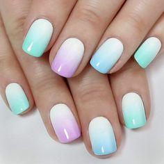 Easter Nail Designs, Cute Nail Designs, Acrylic Nail Designs, Acrylic Nails, Nail Designs For Kids, Pastel Nails, Colorful Nails, Gradient Nails, Marble Nails