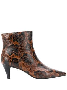 Brown leather blend Cameron pointed ankle boots from Ash featuring a snakeskin effect, a mid high stiletto heel, a pointed toe and a side zip fastening. Pointed Ankle Boots, High Heel Boots, Heeled Boots, High Heels, Ash Boots, Brown Ankle Boots, Brown Leather Boots, Stiletto Heels, Kitten Heels