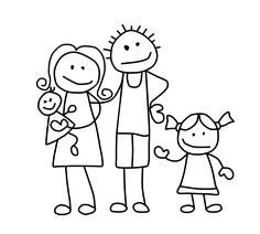 Art Drawings For Kids, Doodle Drawings, Drawing For Kids, Cartoon Drawings, Easy Drawings, Doodle Art, Stick Figure Family, Stick Family, Batman Drawing