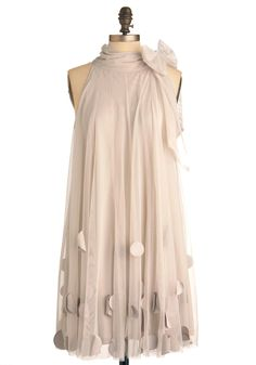 All Neutral Dress by Ryu - Mid-length, Cream, Party, Sheath / Shift, Sleeveless, Solid, Bows