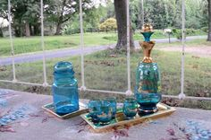 Glass Decanter Set & Trays Entertaining In by AntiquesandVaria, $82.80