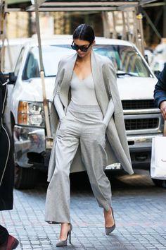 Kendall Jenner in a gray monochromatic ensemble